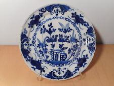 Assiette ancienne faience Pays Bas Delft 18 siècle marque R ou K ? camaieu bleu