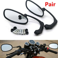 2X Motorcycle Black L-bar Oval Rearview Side Mirror For GN/CG Cafe Racer Custom