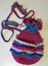 "HAND CROCHETED BAG  ELLEN METZGER by hand  ""TUTU BAG"" PINKS & BLUES"