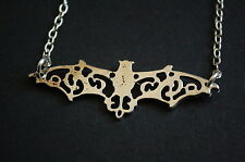 antique silver filigree BATMAN bat necklace vintage kitsch