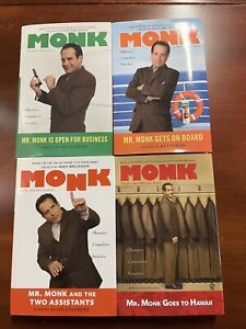 Lot of 4 Monk Mr. Monk Hardcover Books by Lee Goldberg and Hy Conrad