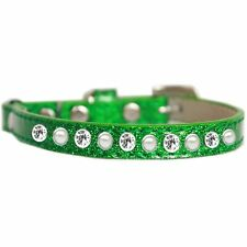Mirage Pet Products Pearl and Clear Jewel Ice Cream Cat safety collar Emerald.