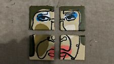 acrylic painting on canvas. Tiny Ugly Line Art wan, 4 mini 2*2 inch canvases