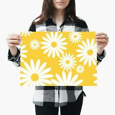 A3| White Daisy Flowers Yellow Sunny - Size A3 Poster Print Photo Art Gift #2441