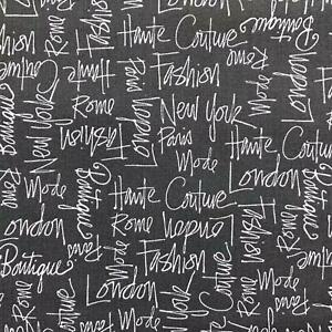 City Chic 2 Capital cities name fashion words white on a grey background fabric