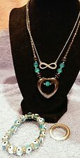 JEWELRY SET LOT VINTAGE 2 NECKLACES CZ....HEART .BROACH BRACELET  8