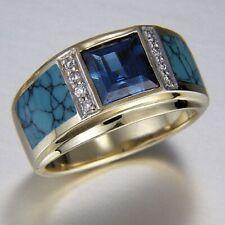 Fashion 14K Gold Men Aquamarine White Sapphire Band Ring Jewelry Wedding Size 7
