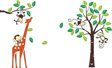 LARGE Giraffe Monkey Tree Wall Art Stickers Kids Nursery Vinyl Decal removable