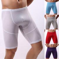 Mens Ice Silk Underwear Briefs Long Leg Mesh Boxer Trunk Sport Shorts Underpant
