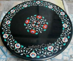 Handmade Black Coffee Table Top Marble Center Table Floral Design 24 Inches