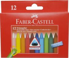 12 FABER-CASTELL Wachsmalstifte TRIANGULAR farbs. wasserfest 120010