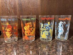 VTG 1971 (4)- ARCHIE COMICS JELLY GLASSES- The archies, Reggie, Sabrina, Hot Dog