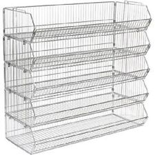 5 x Stackable Basket Unit Display Veg Fruit Retail Shop Home Storage 1000mm