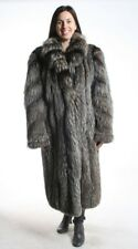 Size XL Wonderful Silver Fox Fur Women Full Length Coat [JB88]