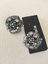 BNWT MIMCO Crystal Flower Jet Earrings Studs Rrp $99