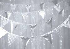 Fabric Bunting - Metallic Silver & White lace -10m - silver wedding anniversary