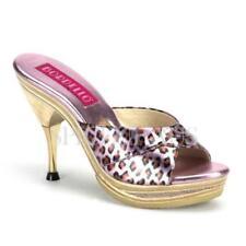 Stiletto Leather Leopard Heels for Women