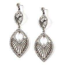 "$200 NWT Kasavina Swarovski Crystal 3.5"" Deco Fan Marquis Drop Dangle Earrings"