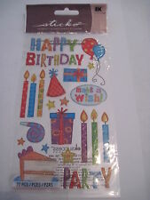 Scrapbooking Stickers Stickos Happy Birthday Candles Make A Wish Cake Balloons