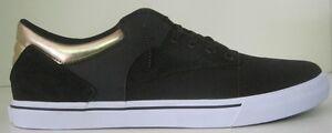 Supra Men's Spectre Casual Skate Shoes, Color Black/Gold/White, Size 14 M US.