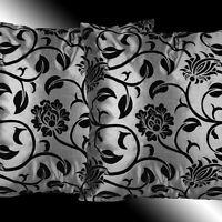 "2 BLACK GREY TAFFETA SOFA BED PILLOW CUSHION COVERS 17"""
