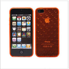 iPhone SE iPhone 5 5S Transparent Gel Case / Cover -Diamond Design - Orange