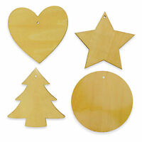 Wooden Ply Wood Craft Shapes Love Heart Star Circle Christmas Tree Blank Hearts