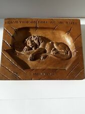 More details for lion of lucerne, solid wood carved wall plaque, very good condition