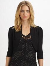 Eileen Fisher New BLACK Rayon Nylon Crinkle Elbow Slvs Shrug Cardigan PM $198