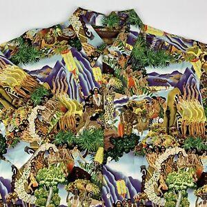 Tori Richard Eugene Savage Matson Island Feast Hawaiian Shirt Mens Large RARE