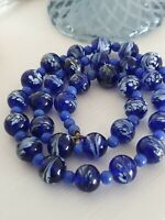 Art Deco Venetian Cobalt Blue and White Feather Swirl Glass Bead Necklace