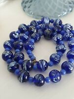 Art Deco Cobalt Blue and White Feather Swirl Murano Glass Bead Necklace