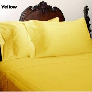 """Bed Skirts 1000 TC Egyptian Cotton 15"""" Drop Length All Sizes / Striped Color"""