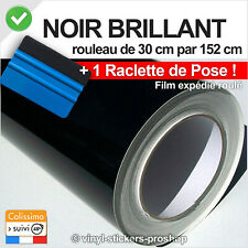 Film vinyle covering noir brillant 150 x 30 cm thermoformable adhésif