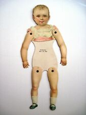 1880 Paper Doll w/ Movable Joints & Pink & White Top & Blue Shoes   *