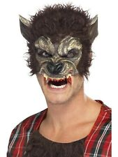 Werewolf Half Face Fur Teeth Adult Mens Halloween Fancy Dress Costume MASK 22711