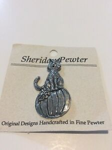 Sheridan Pewter Cat On Pumpkin Halloween Pin Brooch Made In The USA