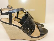 NIB $178 MICHAEL KORS Size 7.5 Women's Black 100% Leather DARCI WEDGE Sandal