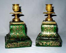 Ancienne Paire De Bougeoirs En Marqueterie Boulle rare coloris vert bronze doré