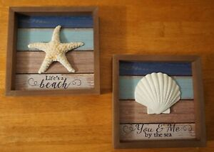 YOU & ME BY THE SEA STARFISH SHELL SIGN SET Tropical Tiki Bar Beach Home Decor