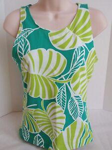 Ladies Danskin Green White Tropical Leaf Print Athletic Top Yoga Tennis Shelf L
