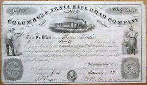 Columbus & Xenia Rail Road Company 1852 Railroad Stock Certificate - Ohio OH