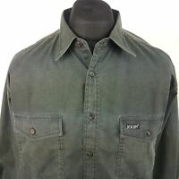 JOOP! Mens Vintage THICK Shirt XL Long Sleeve Grey Regular Fit No Pattern Cotton