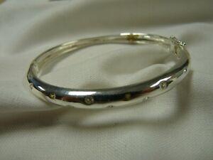 """Hallmarked Silver 925 Bracelet Clear Stones 8"""" long 5mm 18gms B232 J10"""