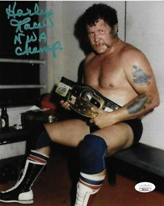 HARLEY RACE NWA WWE WWF SIGNED AUTOGRAPH INSCRIBED 8X10 PHOTO  W/ JSA COA