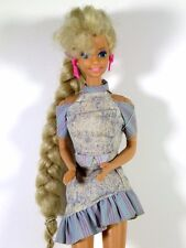 DRESSED BARBIE DOLL TOTALLY HAIR DOLL IN DENIM DRESS