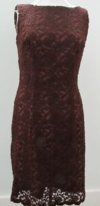 Vintage Slip On Lace Fitted Dress Sleeveless Boat Neck Lined Brown Maroon