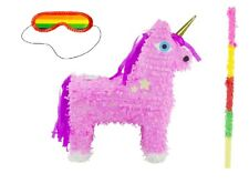 Pinata Einhorn pink mit Stock Brille Geburtstag Party Partyspiel