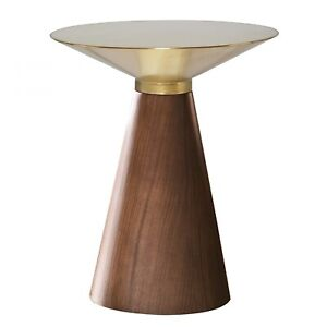 """19.8"""" T Side Table Tapered Wood Veneer Base Brushed Gold Top Modern Contemporary"""