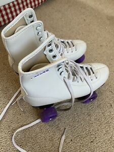 Freesport Roller Skates UK6  Eur39 White With Purple Laces